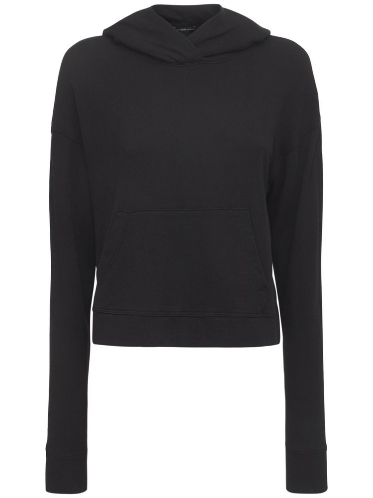 JAMES PERSE Relaxed Cotton Cropped Hoodie in black