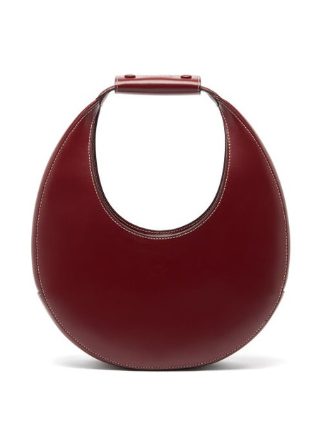 Staud - Moon Medium Leather Shoulder Bag - Womens - Burgundy