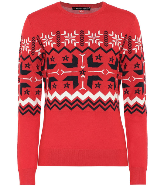 Perfect Moment Nordic wool sweater in red