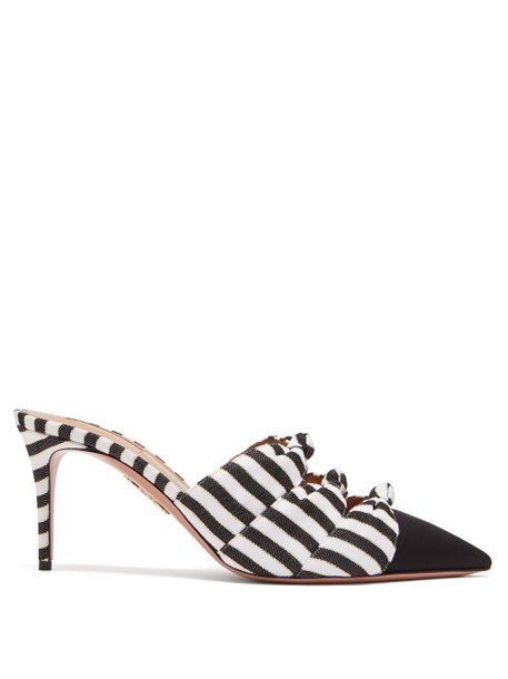 Aquazzura - Mondaine 75 Knotted Striped Mules - Womens - Black White