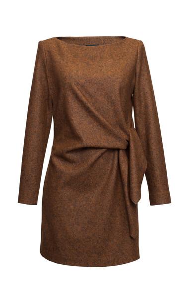 Lake Studio Tie-Detailed Wool And Silk Blend Mini Dress in brown