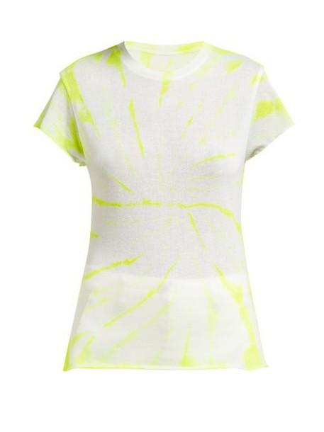 The Elder Statesman - Tie Dye Cashmere And Silk Blend T Shirt - Womens - White Multi