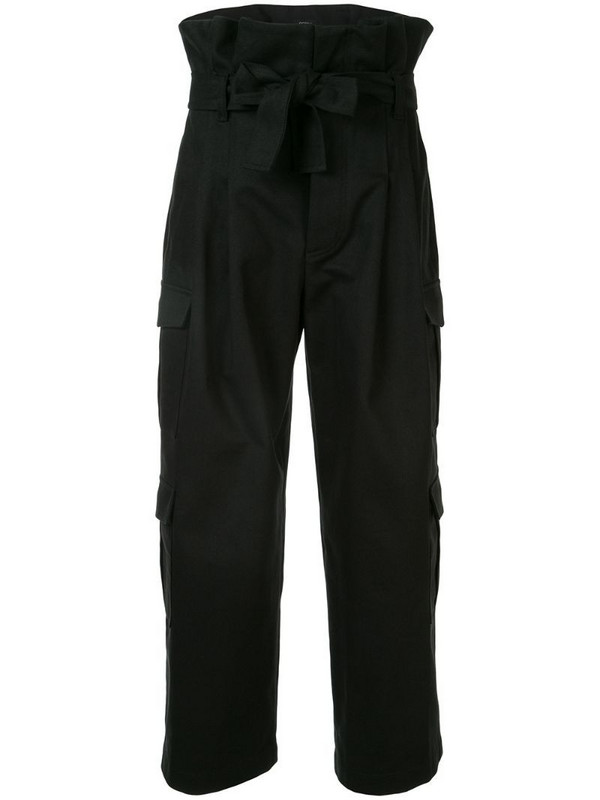 Goen.J Belted Paperbag Cargo trousers in black