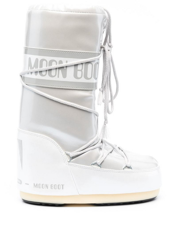 Moon Boot padded lace-up snow boots in grey
