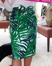skirt,palm leaf 1901 twill pencil skirt