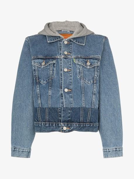 Vetements panelled hooded denim jacket