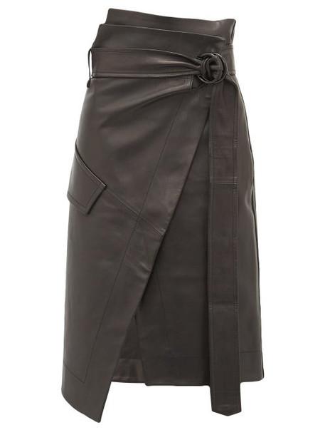 Petar Petrov - Rita High Rise Leather Skirt - Womens - Black
