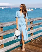 dress,midi dress,blue dress,sandals,white bag
