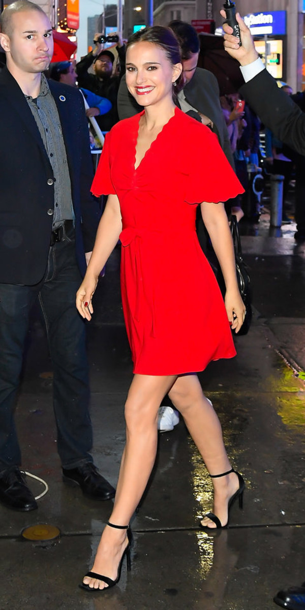 dress red dress red mini dress natalie portman celebrity wrap dress