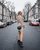 bag,black bag,mini dress,long sleeve dress