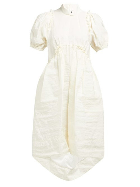 Simone Rocha - Puff Sleeved Crinkled Taffeta Dress - Womens - Light Yellow