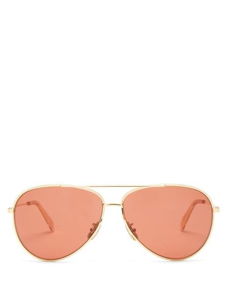 Celine Eyewear - Aviator Metal Sunglasses - Womens - Red Gold