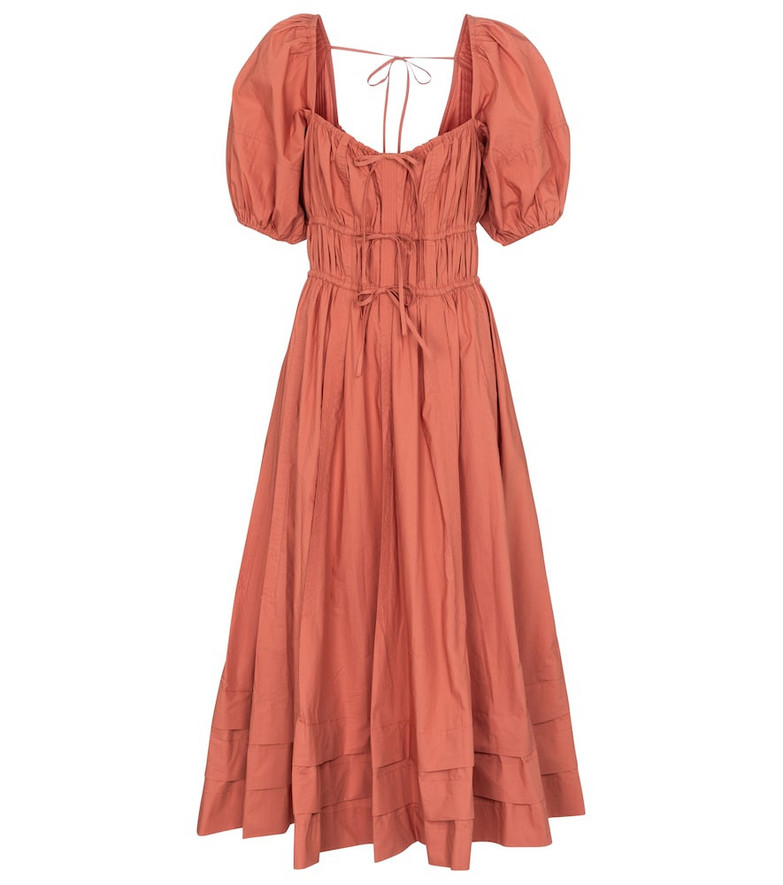 Ulla Johnson Palma cotton midi dress in orange