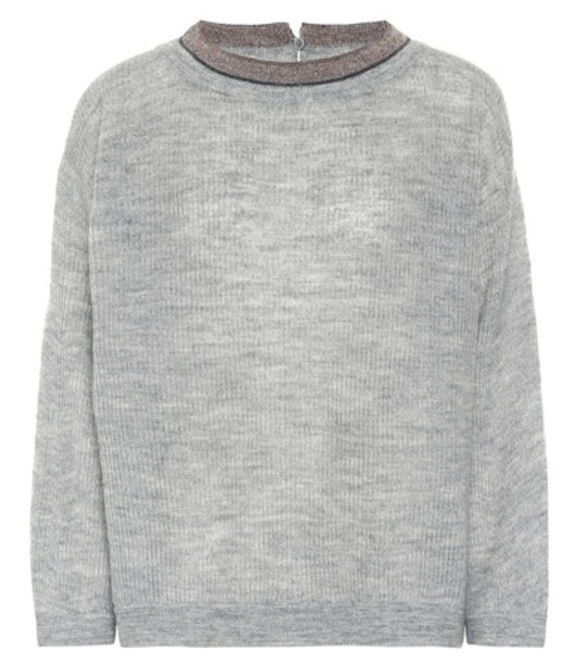 Brunello Cucinelli Mohair and wool-blend sweater in grey