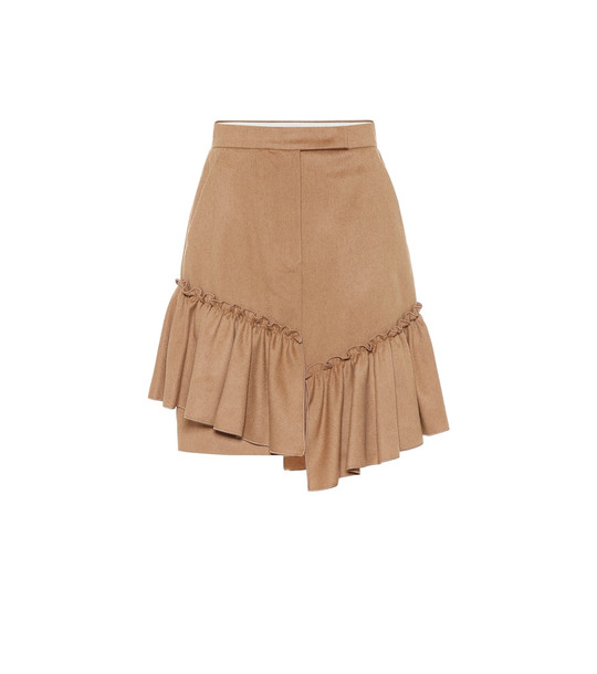 Max Mara Pulcino ruffle-trimmed camel hair skirt in brown