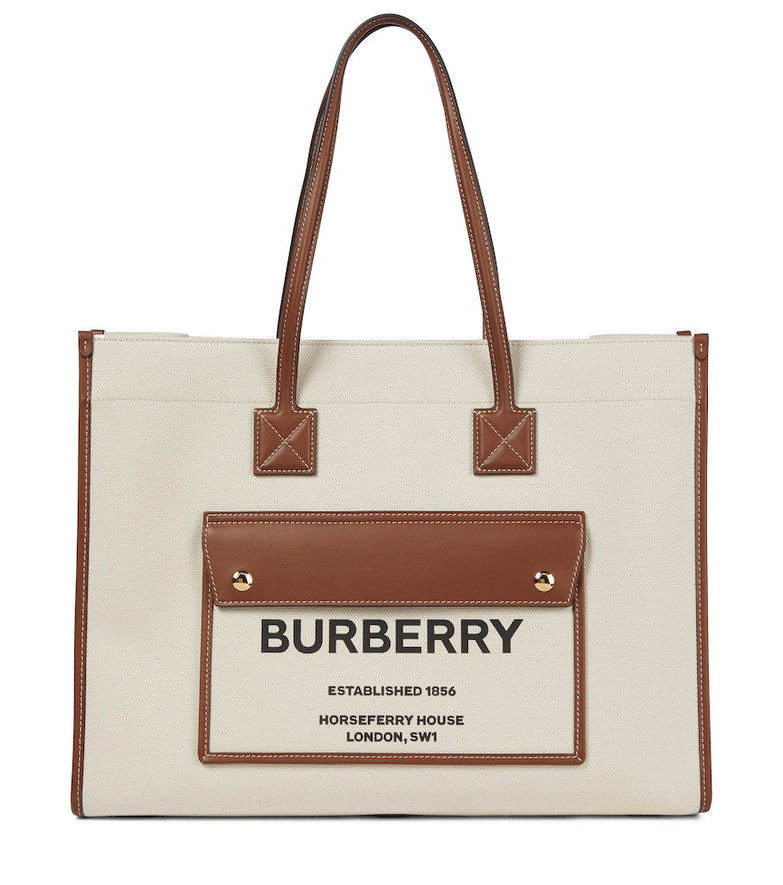 Burberry Freya canvas and leather tote in beige