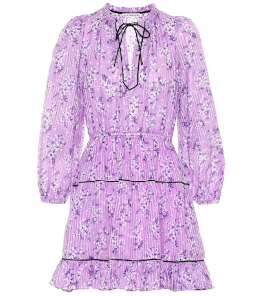 Ulla Johnson Brienne printed cotton and silk dress in purple