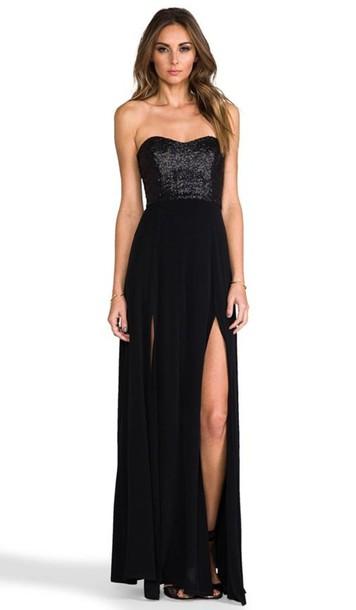 dress black sequins long maxi prom elegant strapless