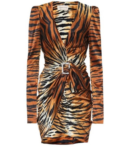 Alexandre Vauthier Tiger silk satin minidress in brown