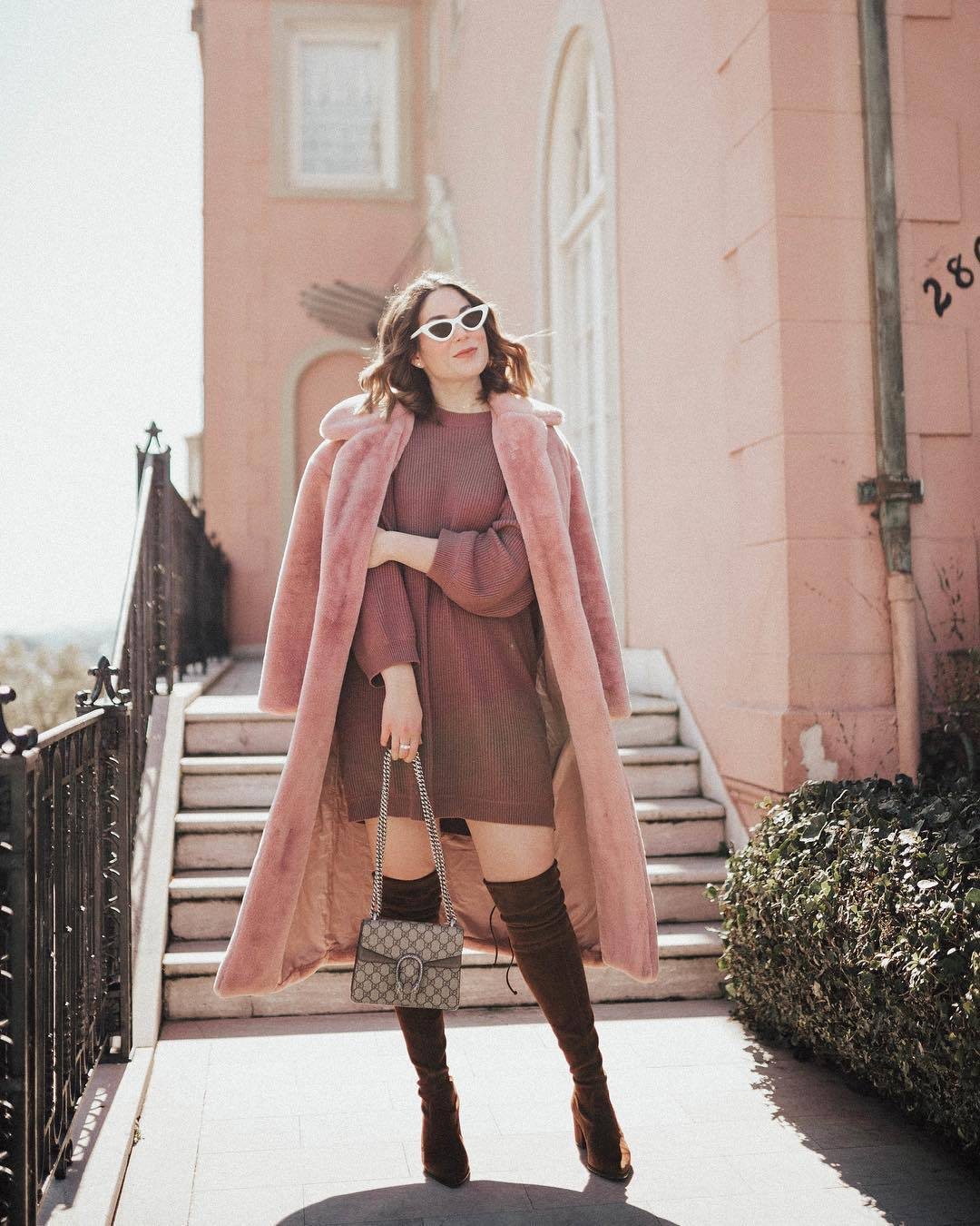 sweater sweater dress mini dress knitted dress over the knee boots suede boots gucci bag pink coat teddy bear coat