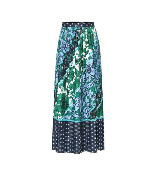 Erdem Nolana floral satin-jacquard skirt in blue
