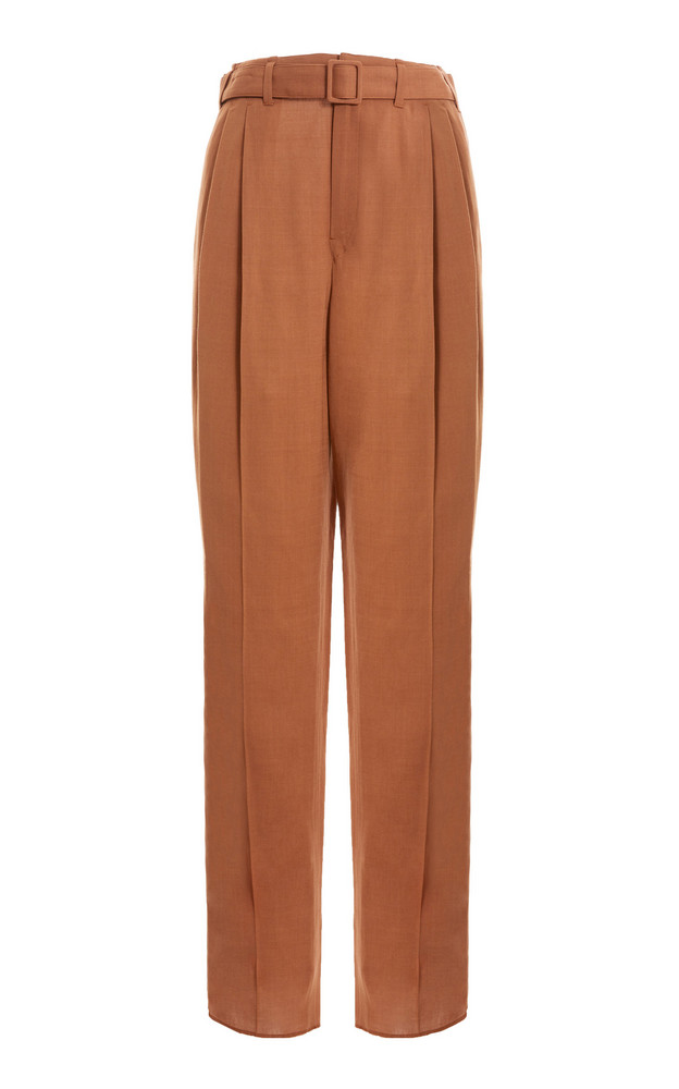 Lemaire Belted Pleated Straight-Leg Trousers in brown