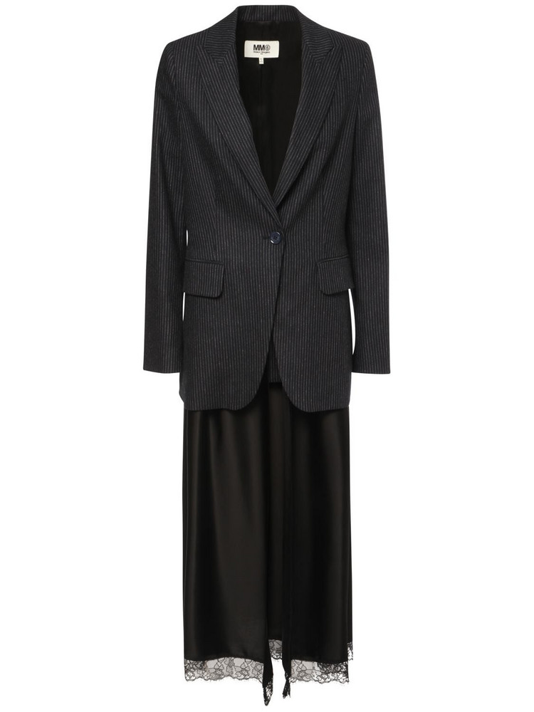 MM6 MAISON MARGIELA Pinstripe Wool & Satin Blazer in black / navy