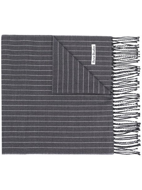 Acne Studios striped knitted scarf in grey