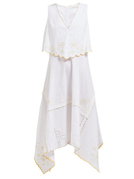 See By Chloé See By Chloé - Embroidered Scallop Trim Cotton Midi Dress - Womens - Ivory