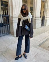 shoes,loafers,prada,cropped jeans,coat,black bag,sweater