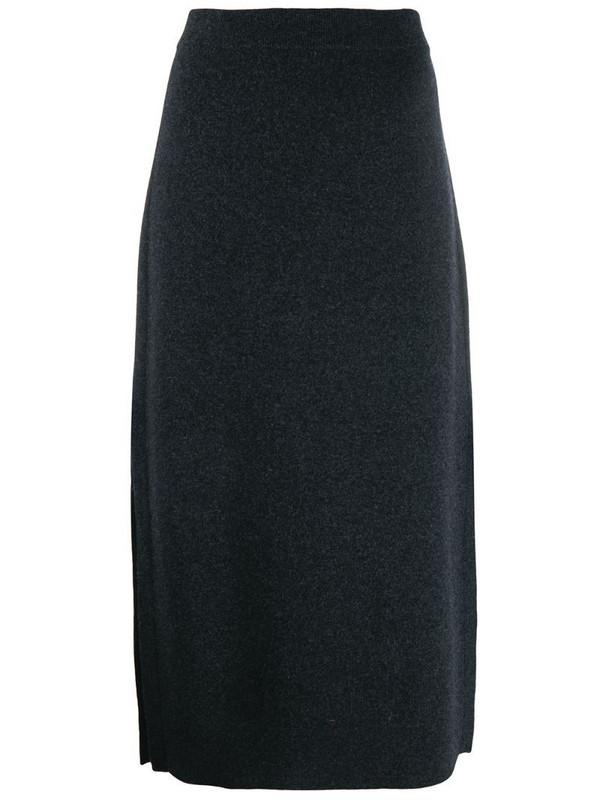 Pringle of Scotland side slit knitted skirt in grey