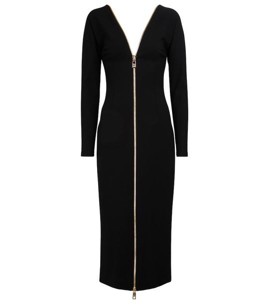 Dolce & Gabbana Zipped V-neck midi dress in black