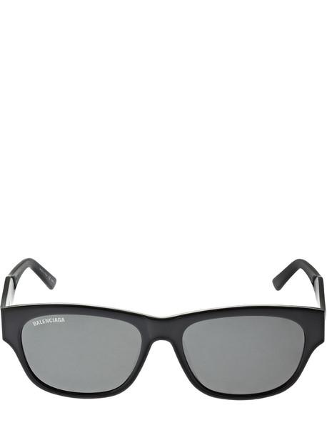 BALENCIAGA Flat Rectangle Acetate Sunglasses in black / grey