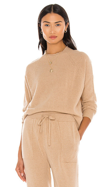 FRAME Lounge Crew Sweater in Tan