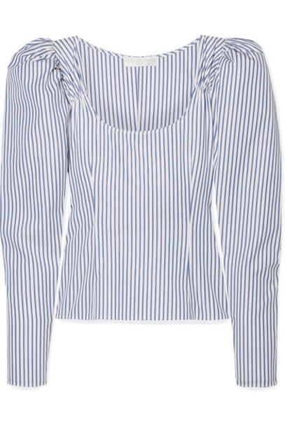 Caroline Constas - Ariana Ruched Striped Cotton-poplin Top - Blue