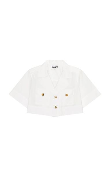 Ganni Cotton Poplin Cropped Short Sleeve Shirt in white