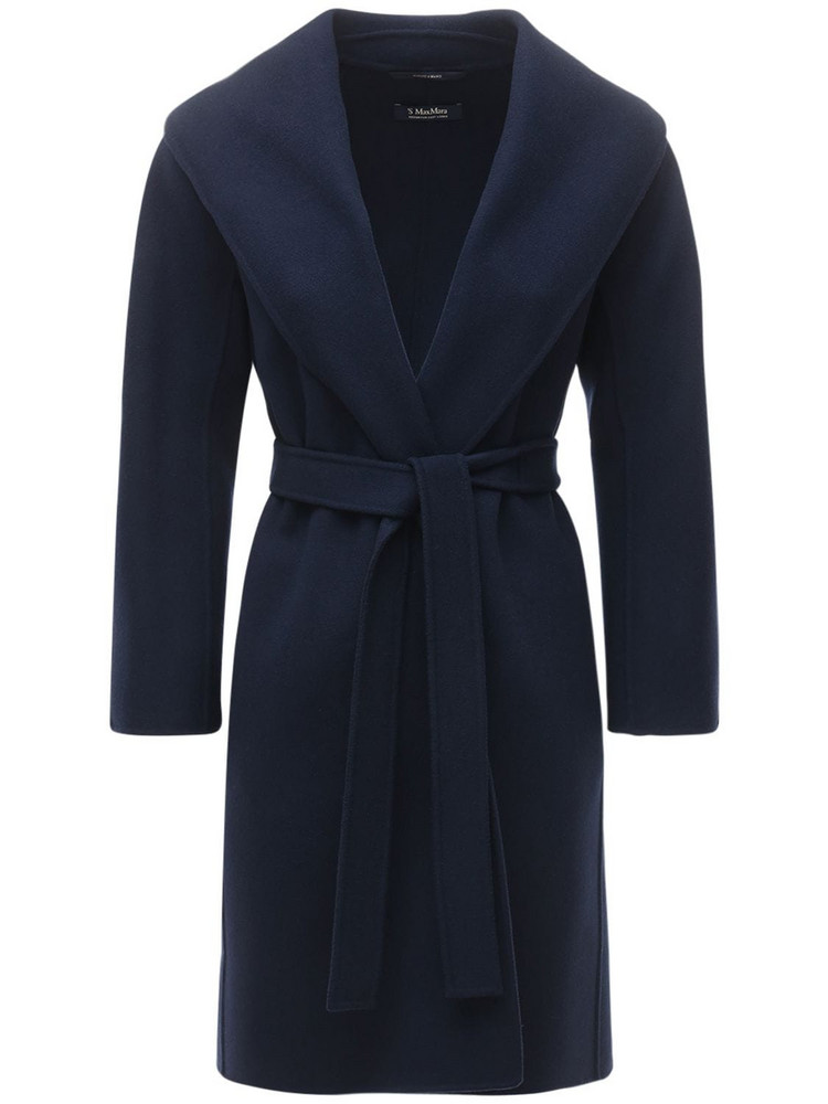 MAX MARA 'S Messi Belted Virgin Wool Wrap Coat in blue