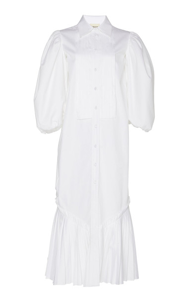 Khaite Stephanie Cotton Shirt Dress in white