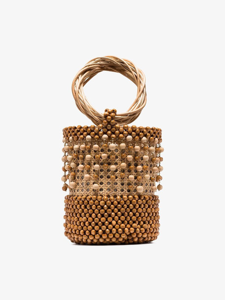 Rosantica Beige Cora beaded wicker bucket bag