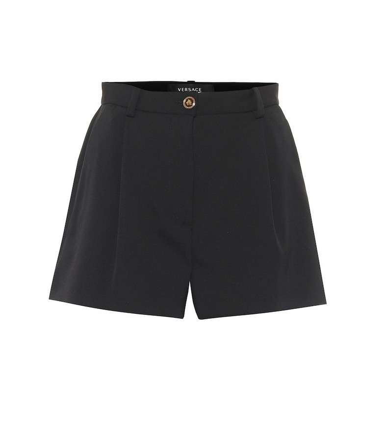 Versace High-rise stretch-wool shorts in black