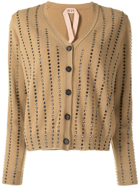 Nº21 crystal-embellished V-neck cardigan in brown