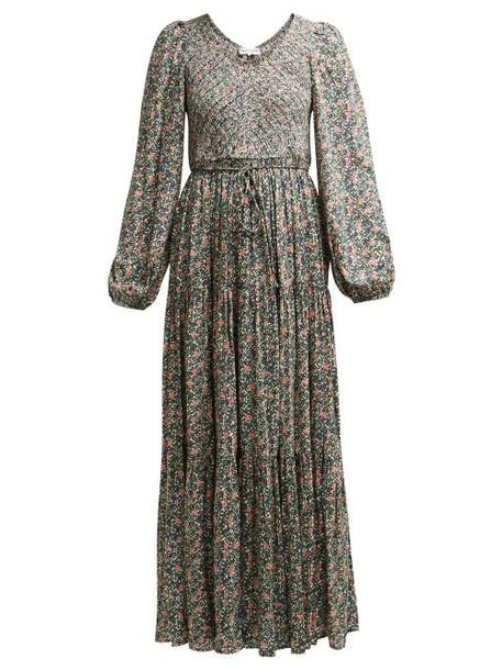 Apiece Apart - Olivia Shirred Floral Print Jersey Dress - Womens - Green Multi