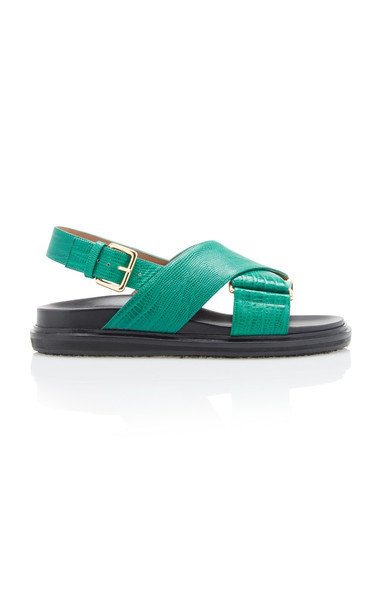 Marni Fussbett Embossed Slingback Sandals in green
