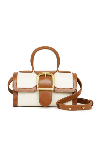 Rylan Mini Satchel Contrasting Leather Top Handle Bag in white