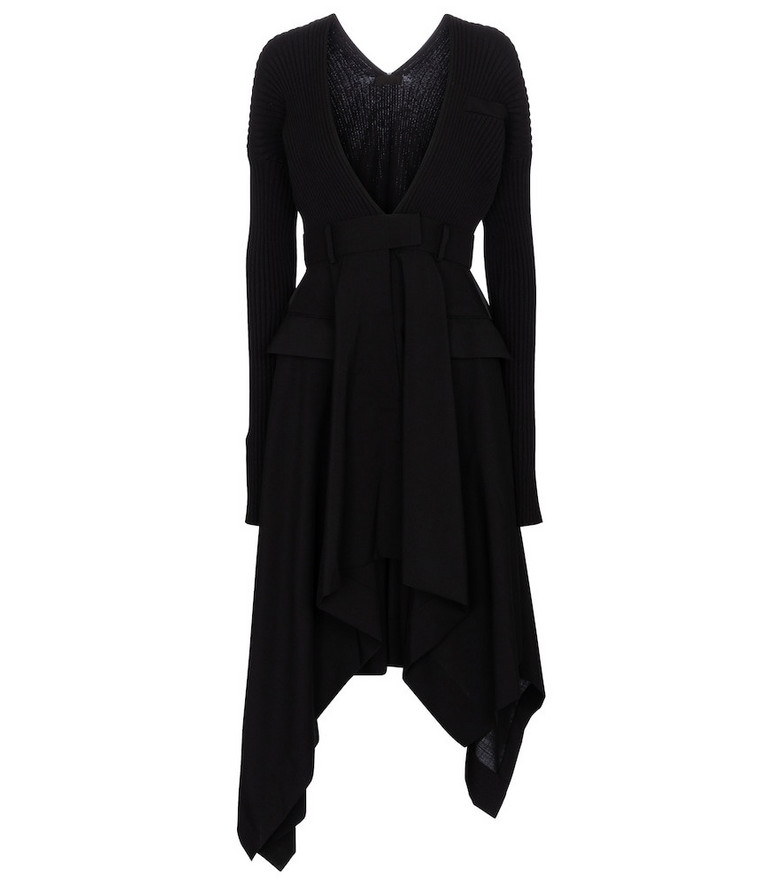 Sacai Ribbed-knit and crêpe midi dress in black