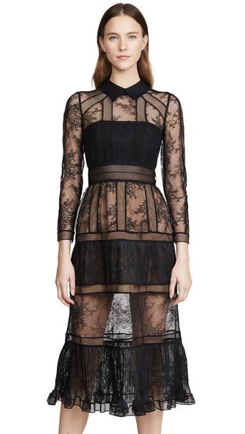 Self Portrait Fine Lace Trim Midi Dress in black