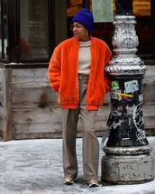 sweater,turtleneck sweater,high waisted pants,plaid,gold,sneakers,orange,teddy jacket,beanie