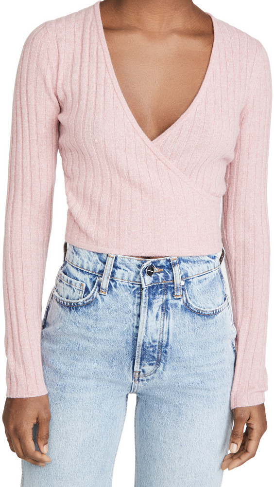 Reformation Cashmere Faux Wrap Sweater in rose