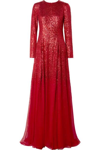 Oscar de la Renta - Sequined Silk-chiffon Gown - Red