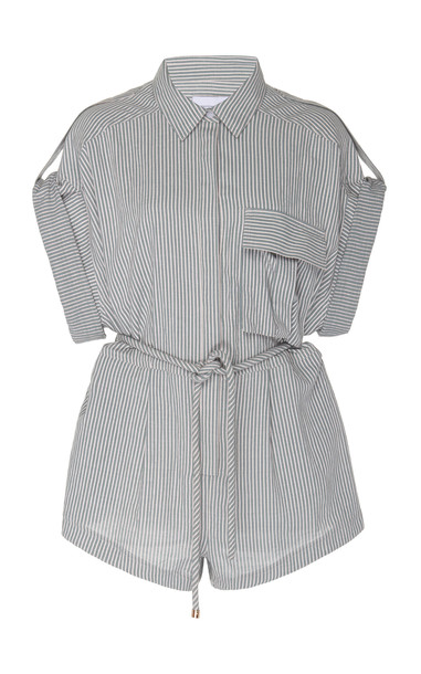 Significant Other Hartley Striped Button Up Romper in neutral